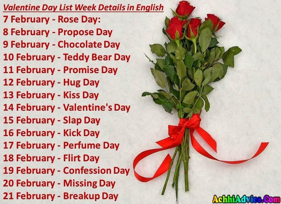 Valentine Day List Week Details in English