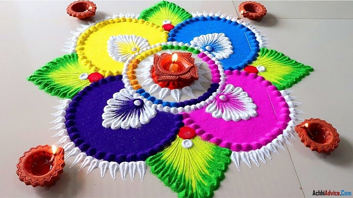 Latest Colourful Diwali Rangoli Designs Photo